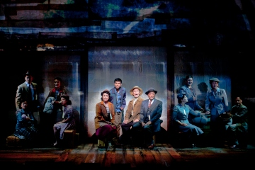 (center, from left) Lea Salonga as Kei Kimura, Telly Leung as Sammy Kimura, George Takei as Ojii-san and Paul Nakauchi as Tatsuo Kimura with the cast of the World Premiere of Allegiance - A New American Musical, with music and lyrics by Jay Kuo and book by Marc Acito, Kuo and Lorenzo Thione, directed by Stafford Arima, Sept. 7 - Oct. 21, 2012 at The Old Globe. Photo by Henry DiRocco.