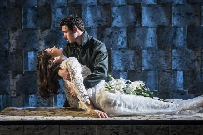 EMBARGOED UNTIL 21.30 BST 25 MAY 2016 KBTC_Romeo and Juliet_Garrick Theatre_Lily James (Juliet) and Richard Madden (Romeo)_Credit Johan Persson_05910.jpg.gallery