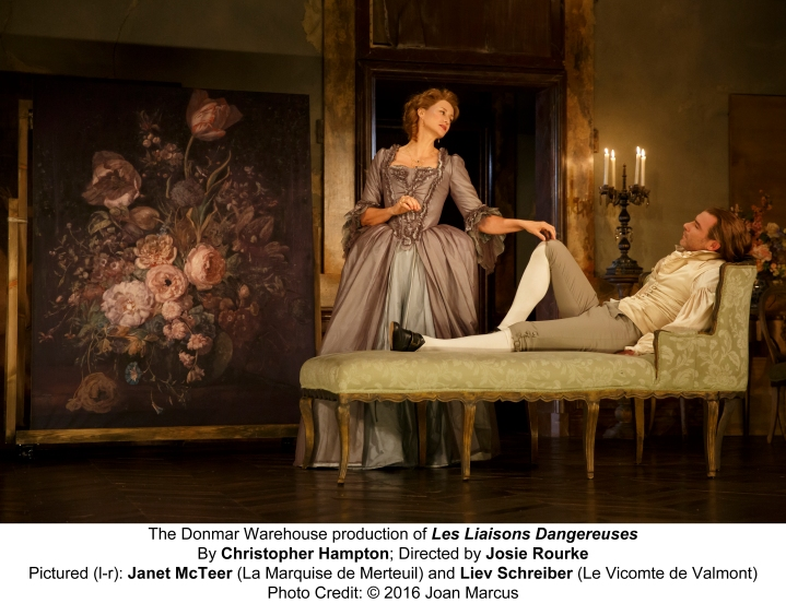 Les Liaisons Dangereuses Booth Theatre Written by Christopher Hampton; Based on the novel by Choderlos de Laclos; Original Music: Michael Bruce Directed by Josie Rourke Scenic Design by Tom Scutt; Costume Design by Tom Scutt; Lighting Design by Mark Henderson; Sound Design by Carolyn Downing; Hair Design by Campbell Young; Make-Up Design by Campbell Young Janet McTeer La Marquise de Merteuil Liev Schreiber Le Vicomte de Valmont Elena Kampouris Broadway debut Cécile Volanges Mary Beth Peil Madame de Rosemonde Birgitte Hjort Sørensen Broadway debut Mme. de Tourval Raffi Barsoumian Broadway debut Le Chevalier Danceny Katrina Cunningham Émilie a courtesan Joy Franz Victoire Ora Jones Madame de Volanges David Patterson Broadway debut Major-domo Josh Salt Azolan Valmont's valet de chambre Laura Sudduth Broadway debut Julie Understudies: Katrina Cunningham (Cécile Volanges), Rachel deBenedet (La Marquise de Merteuil), Joy Franz (Madame de Rosemonde), Ron Menzel (Le Vicomte de Valmont, Major-domo), David Patterson (Azolan, Le Chevalier Danceny) and Laura Sudduth (Mme. de Tourval, Victoire, Émil