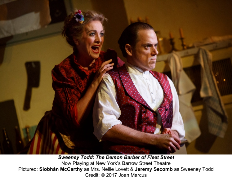 Sweeney Todd OFF-BROADWAYDRAMA BARROW STREET THEATRE 27 BARROW STREET SYNOPSIS: A barber who was unjustly imprisoned for years by a corrupt judge returns to England bent on revenge — a revenge that turns indiscriminately murderous, leading his resourcef