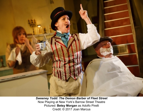 Sweeney Todd OFF-BROADWAYDRAMA BARROW STREET THEATRE 27 BARROW STREET SYNOPSIS: A barber who was unjustly imprisoned for years by a corrupt judge returns to England bent on revenge — a revenge that turns indiscriminately murderous, leading his resourceful accomplice, Mrs. Lovett, to bake the victims into meat pies. The Barrow Street Theatre will be turned into a working pie shop for the production. Director: Bill Buckhurst Starring: Jeremy Seacomb, Siobhan McCarthy, Duncan Smith, Joseph Taylor (until April 9, 2017) Norm Lewis, Carolee Carmello, Jamie Jackson, John Michael Lyles (starting April 11, 2017) Matt Doyle, Alex Finke, Betsy Morgan, Brad Oscar, Colin Anderson, Liz Pearce, Monet Sabel Design by Simon Kenny Music Supervision & Arrangement by Benjamin Cox Music Direction by Matt Aument Movement Direction by Georgina Lamb Lighting Design by Amy Mae Sound Design by Matt Stine Prop Master: Ray Wetmore Chef & Pie Maker: Bill Yosses Assistant Pie Maker: Roberto Welch Food Consultation by Flavor Memory Show Times: Tuesday - Thursday @7:30pm, Friday @8pm, Saturday @2:30pm and @8pm, Sunday @2:30pm and @7:30pm www.barrowstreettheatre.com MUSIC: STEPHEN SONDHEIM BOOK: HUGH WHEELER LYRICS: STEPHEN SONDHEIM