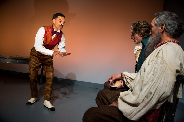 duane boutte, michael laurence and thom sesma in the primary stages production of discord - photo by jeremy daniel