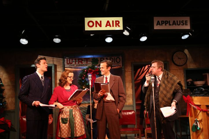 WLIan Holcomb, Orlagh Cassidy, Aaron Gaines, and Dewey Caddell in Irish Rep's 2017 Production of IT'S A WONDERFUL LIFE - THE 1946 LIVE RADIO PLAY - photo by Carol Rosegg_preview
