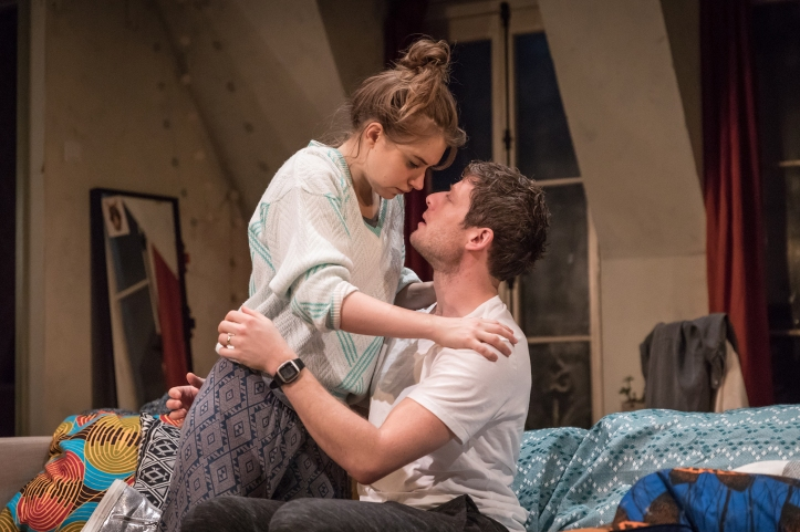 Imogen Poots (Abby) & James Norton (Zack) in Belleville at the Donmar Warehouse, director Michael Longhurst, designer Tom Scutt. Photo by Marc Brenner (2)