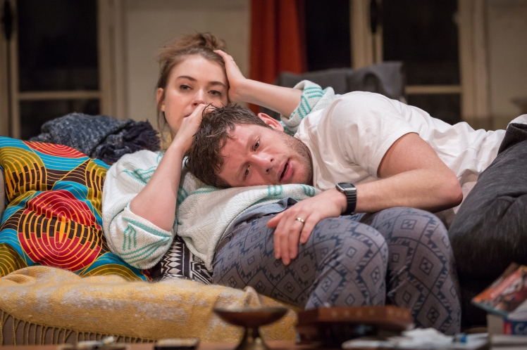Imogen Poots (Abby) & James Norton (Zack) in Belleville at the Donmar Warehouse, director Michael Longhurst, designer Tom Scutt. Photo by Marc Brenner