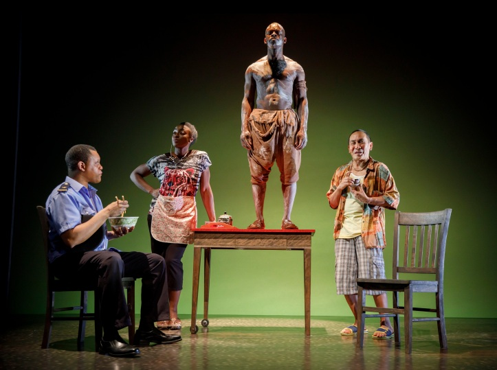 MLIMA'S TALEWritten by Lynn Nottage Directed by Jo Bonney Featuring Ito Aghayere, Jojo Gonzalez, Kevin Mambo, and Sahr Ngaujah Scenic Design by Riccardo Hernandez Costume Design by Jennifer Moeller Lighting Design by Lap Chi Chu Sound Design by Darron