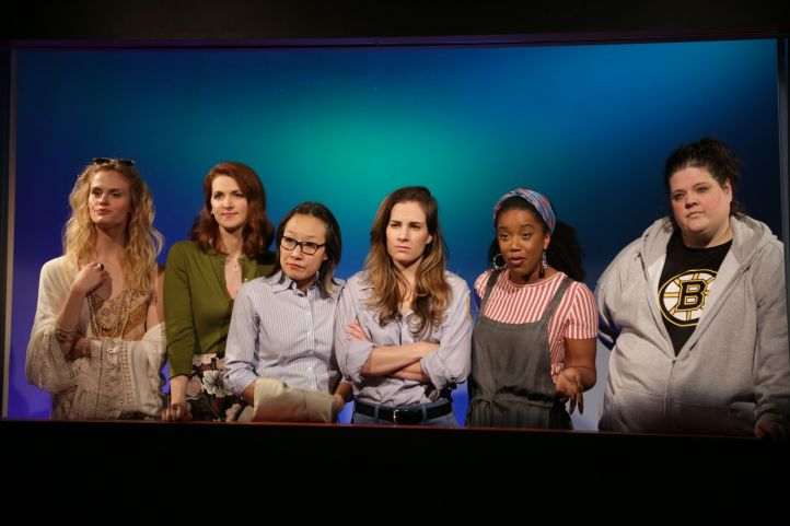 bumpErica Lutz, Kelly Anne Burns, Susan Hyon, Laura Ramadei, Kristen Adele, and Kelli Lynn Harrison in Ensemble Studio Theatre's production of BUMP - Photo by Gerry Goodstein_preview