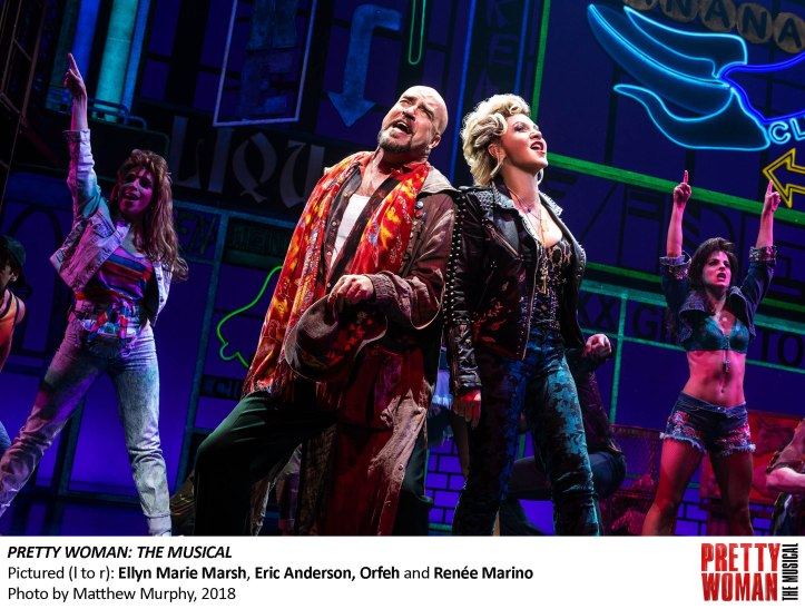Ellyn Marie Marsh, Eric Anderson, Orfeh and Renee Marino in PRETTY WOMAN THE MUSICAL, Photo by Matthew Murphy, 2018