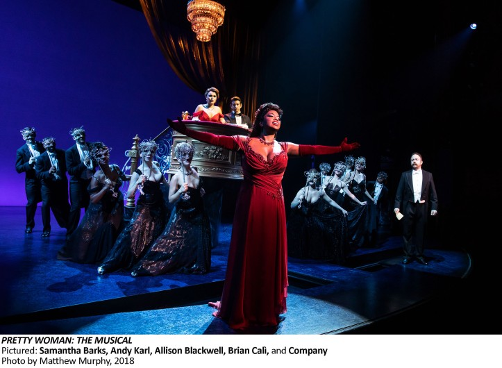 Pretty Woman The Musical, Pictured Samantha Barks, Andy Karl, Allison Blackwell, Brian Cali, Company, Photo by Matthew Murphy, 2018
