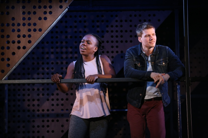 GoodGrief0018 Ngozi Anyanwu and Hunter Parrish Photo by Carol Rosegg