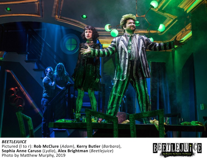 [16817]_ROB McCLURE, KERRY BUTLER, SOPHIA ANNE CARUSO, ALEX BRIGHTMAN in BEETLEJUICE, Photo by Matthew Murphy, 2019