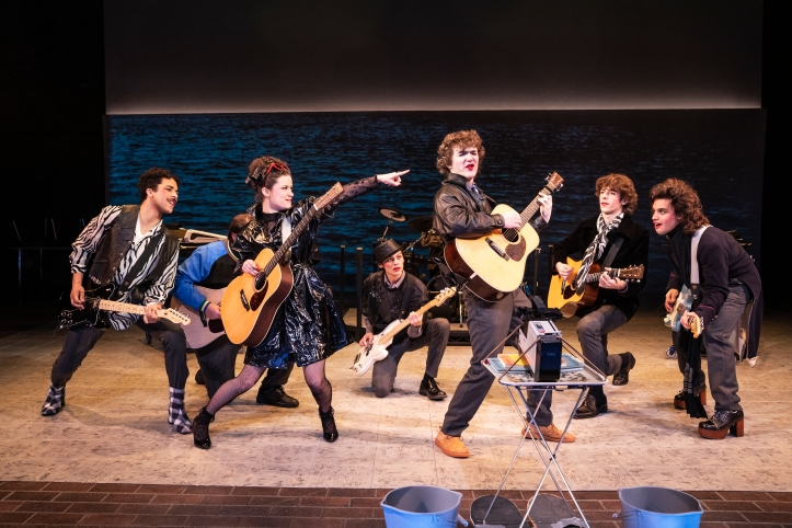 Jakeim Hart, Max William Bartos, Zara Devlin, Sam Poon, Brenock O'Connor, Brendan C. Callahan & Gian Perez in SING STREET at New York Theatre Workshop, Photo by Matthew Murphy