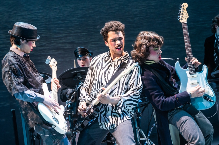 Sam Poon, drummer Anthony Genovesi, Jakeim Hart & Gian Perez in SING STREET at New York Theatre Workshop, Photo by Matthew Murphy